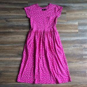 Lizsport • vtg pink w/white flowers midi dress